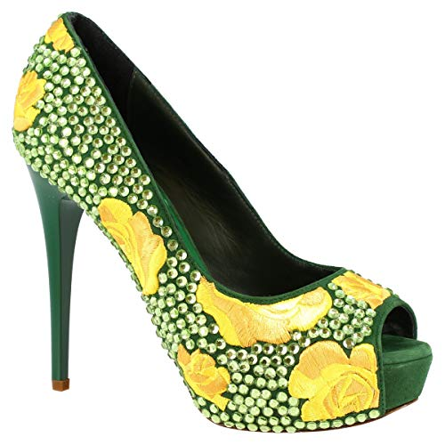 Leonardo Shoes Zapatos de salón para Mujer con Punta Abierta y tacón...