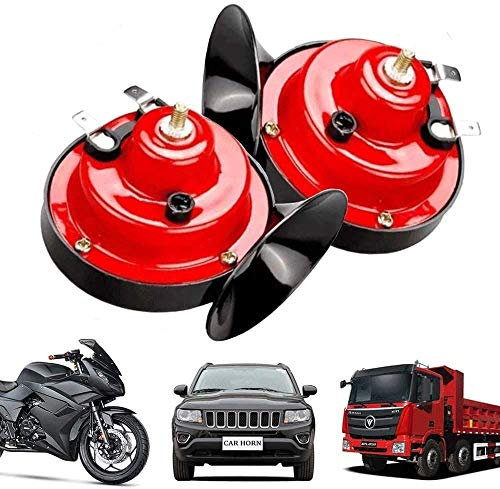 【2 Pack】 300DB Electric Snail Horns 12V High and Low Tone Horns Car Snail Horns Set Loud Motorcycle Horns Dual Waterproof Horns with Brackets and Screws for Car Motorcycle