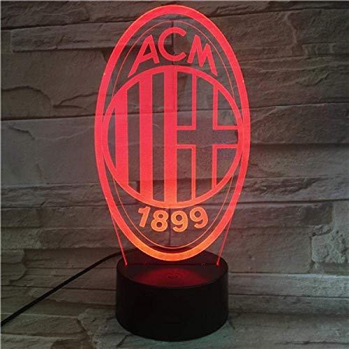 Acm Milan Football Club, 7 colores, luces para dormir, luz nocturna 3D, flash LED, mando a distancia, decoración para el hogar, regalo de Navidad