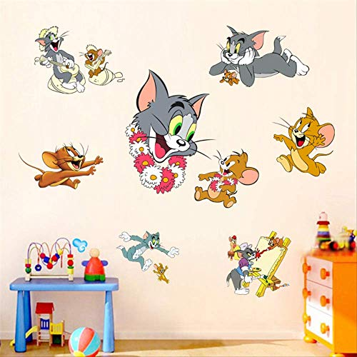 Tom Jerry Wall Sticker Cat and Mouse Cartoon Anime Children's Room Waterproof Glass Bedroom Wall Art Travel Suitcase Sticker