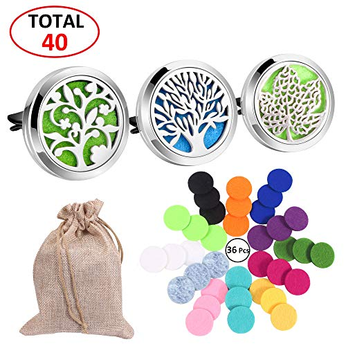 3 Pcs Car Essential Oil Diffuser Aromatherapy, 30 mm Stainless Steel Diffuser Locket Vent Clip Air Freshener with 36 Felt Pads