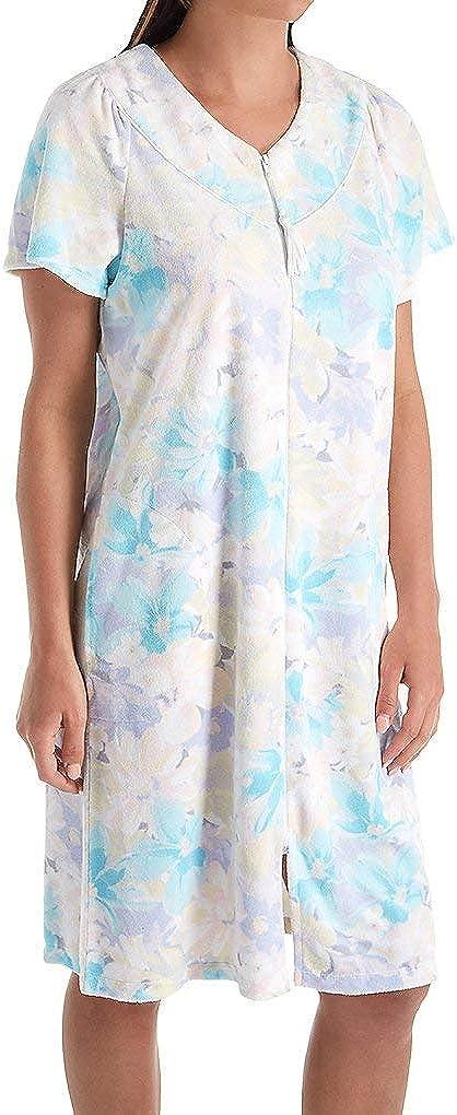 安い 激安 プチプラ 高品質 Miss Elaine Women's Terry Floral 開店祝い Short Robe Zip 834009