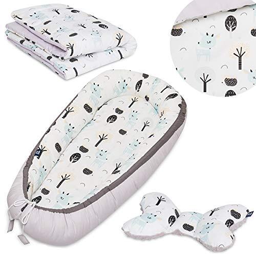 Peti Bebe Parure 3 en 1 pour nouveau-né - Nid de bébé + literie avec garnissage + oreiller de voyage - 100 % coton doux et confortable - Cerfs
