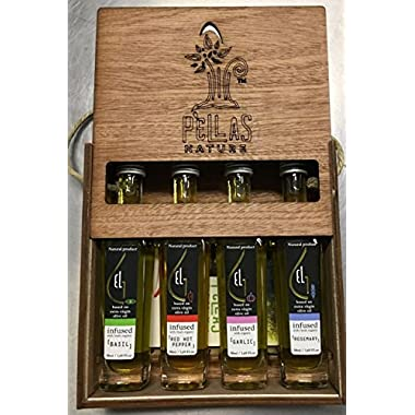 Pellas Nature | International Award Winner | Fresh Organic Infused Olive Oil Set | Finishing Oil | Basil | Garlic | Rosemary | Red Pepper | Wooden Gift Set | Single Origin Greek | 4 X 1.7oz Bottles
