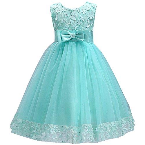 IBTOM CASTLE Big Little Girl Ball Gown Lace Flower Girl Dresses for Wedding Turquoise 4t