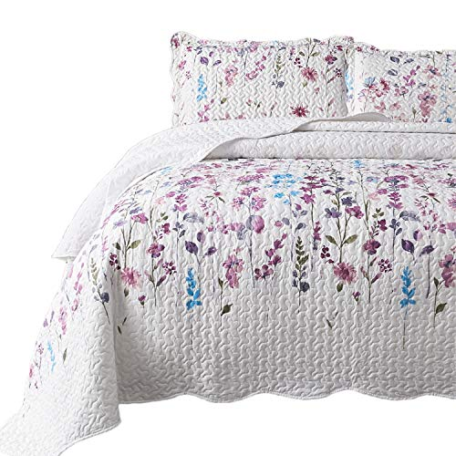 Bedsure King Size (106x96 inches) 3-Piece Quilt Set Coverlet, Lilac Flower Pattern, Lightweight Design for Spring and Summer, 1 Quilt and 2 Pillow Shams