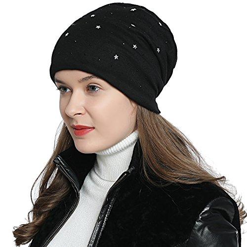 DonDon Damen Mütze Wintermütze Slouch Beanie Sterne schwarzer Strass schwarz