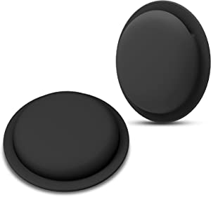 LiZHi Silicone Case for Airtag Sticker, Anti-Scratch Protective Air Tag Holder Skin Cover Accessories Compatible with Apple AirTag, Hidden Protective Silicone Location Tracker(2 Packs)(Black)