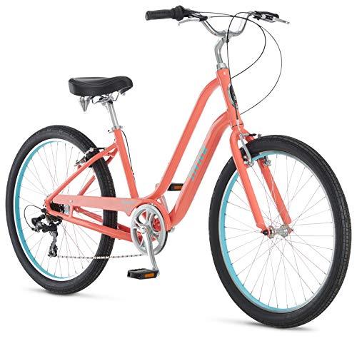 Schwinn Sivica 7 Cruiser Bike for Women with 26-Inch Wheels in Coral, 7-Speed Shimano Drivetrain and Aluminum Step-Through Frame
