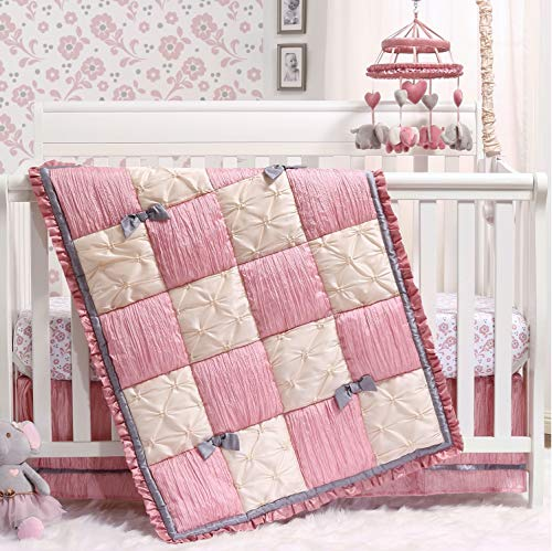 The Peanutshell Bella Crib Bedding Set for Baby Girls | 3 Piece Nursery Set | Crib Quilt, Fitted Crib Sheet, Dust Ruffle