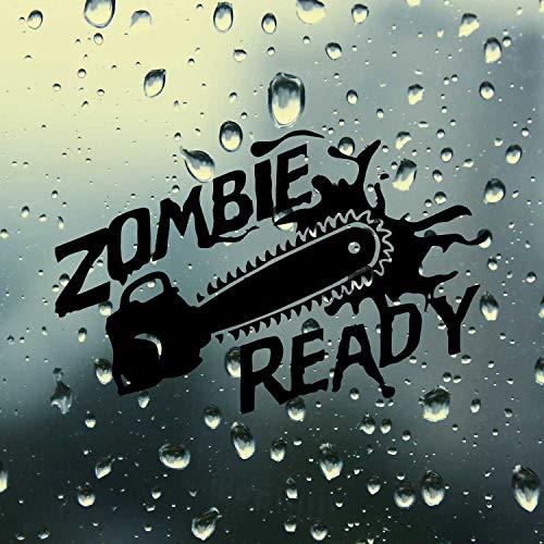 SUPERSTICKI Zombie Ready Chainsaw Kettensäge ca 20cm Auto Aufkleber Tuning Spruch Fun Lustig Aufkleber Decal Sticker aus Hochleistungsfolie