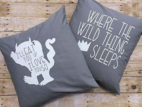 Ad4ssdu4 Kinderzimmer Bettwäsche Set Custom 18 x 18 Zoll 45 x 45 cm Wild Thing Kissenbezüge Baby Boy Bettwäsche Wo die Wilden Kerle sind Crown Pillow Boy Raumdekor