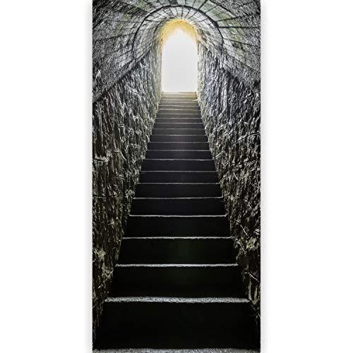 murando - Türtapete selbstklebend 90x210 cm Vliesleinwand Fototapete Tapete Türpanel Türposter Türaufkleber Türsticker Tür Dekoration Foto Bild Design Treppe grau d-B-0117-a-c