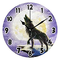 Wolf Animal Wall Clock for Bathroom Pretty Pattern 9 inch Round Wall Clock Acrylic Silent Non-Ticking Clock for Room Living Room Kitchen Decoration 2040722