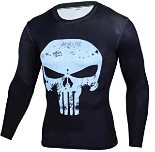 Cool Graphic Tee Dri-fit Punisher Skull Compression Shirt Full Sleeve Blue