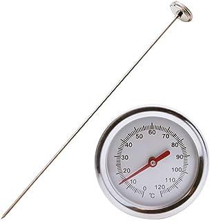 Whuooad Termómetro de compost, termómetro de acero inoxidable bimetálico de esfera Celsius de respuesta rápida para compos...