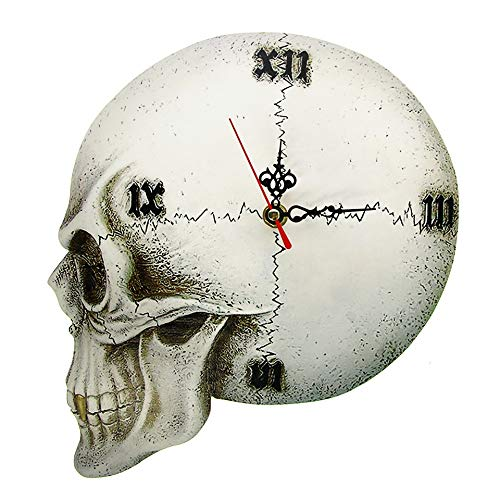 FGJMN wandklok Gothic Tempore Mortis kluis schedel muur klok Halloween Home Decor wandklok griezelige gotische Skeleton klok horloge Romeinse cijfers
