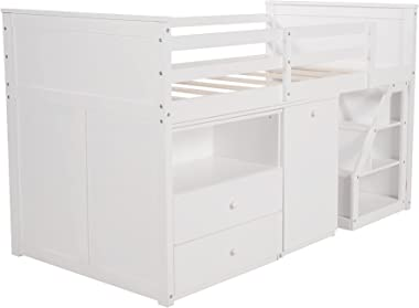 Twin Loft Bed for Kids, Low Study Wooden Loft Bed Frame with Movable Portable Desk and Storage Steps (White)