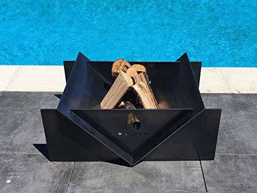 Holy Smoke® Design vuurschaal 80 cm x 60 cm - massieve haard voor de tuin en terras - 5 mm staal walsblauw warmgewalst - patina - Made in Germany