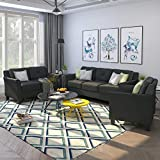 Harper & Bright Designs Living Room 3 Piece Sofa Couch Set,3 Seats Loveseat Single Chair Sectional Sofa Set, Black