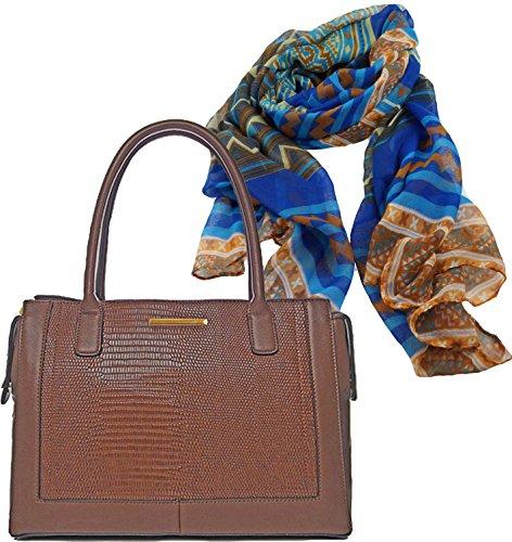 Damen Henkel Tasche braun Handtasche in Krokodilleder Optik Geschenk Set Halstuch langer Schal im Mustermix ein schmeichelnder, weich fließender Trendbegleiter ca. 75 x 175cm