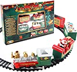 "Christmas Electric Train Set 85"" Safe Realistic Electric Railway Train Set Battery-Powered Santa Claus Train Toys Ornaments for Kids Gift Party Home Xmas Tree Decoration Kindergarten Festive Decor (A)"