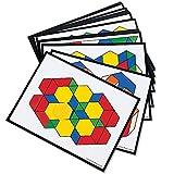 Learning Resources Intermediate Pattern Block Design Cards, Pattern, Pattern Blocks for Kids, Pattern Block Activities, for Grades 2-6, 36 Activities
