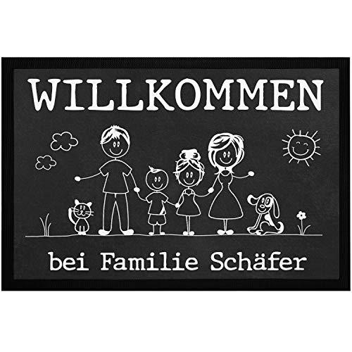 SpecialMe® Fußmatte Familie 1, 2, 3 Kinder & mehr + Hund, Katze personalisiert mit Namen Strichmännchen weiß 60x40cm