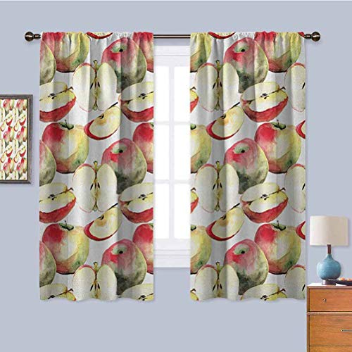 Apple Black Out Curtain Panels for Bedroom, Curtains 39 inch Length Halved and Quartered Organic McIntosh Apples Gourmet Food Healthy Life Privacy Protection Ivory Red Reseda Green W55 x L39 Inch