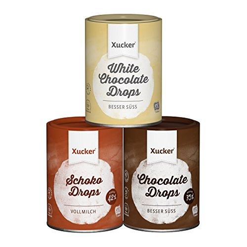 Xucker 3 x 200 g Schokoladen-Drops Set, Edel Vollmilch, Weiß, Edelbitter - kohlenhydrat-bewusste...