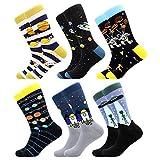 BONANGEL Calcetines de Vestir Divertidos, Coloridos Calcetines Para Hombres,Calcetines de Oficina de Algodón con Estampados Divertidos y Elegantes de Fantasía, Locos Geniales (6 Pairs-Galaxy4)