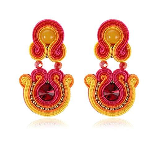 Gymqian Women Handmade Earrings Ethnic Style Leather Drop Earrings Jewelry Women Soutache Handmade Weaving Big Hanging Earring Party White Retro/Red