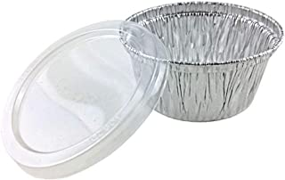100-Pack Disposable Muffin Cups (4-oz) –With Plastic Lids- Premium Food-Grade Quality Aluminum Cupcake Tip Pan Ramekin Holders – Accommodates Hot/Cold, Cooked & Baked Food –Grease Proof and Stack-able