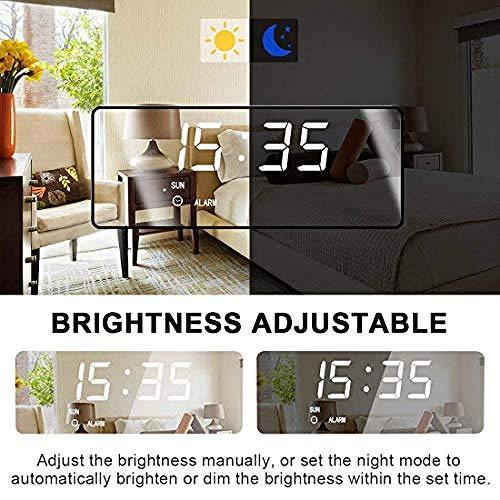 YAYY Digitale wekker, led-display met dimmer-modus voor helderheidsmeting, instelbare helderheid, 2 USB-oplaadpoorten voor slaapkamer, woonkamer, woonkamer, wooncultuur, digitale spiegelwekker