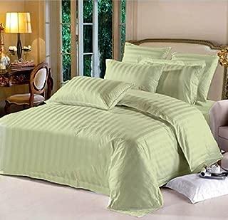 Lasin Bedding, Hotel Collection Stripe Super Soft, California King/King 100% Cotton 3pcs Duvet Cover Pillow Case Bedding Set, Green