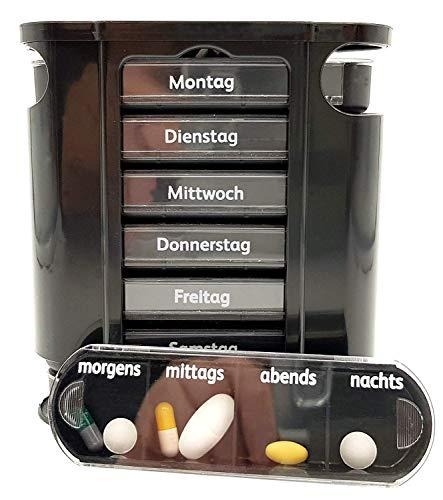 M&H-24 Tablettenbox Medikamentenbox Pillenbox für 7 Tage Schwarz - Pillen-Tabletten-Dose Medikamentendispenser Medikamentendose Wochendosierer Woche 4-Fächer Morgens Mittags Abends Nachts