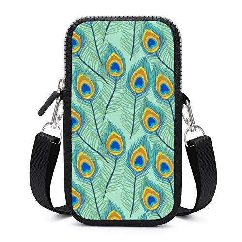 Bolso bandolera para teléfono móvil con correa de hombro extraíble, bonita pluma anticaída, funda para pulsera de llaves, gimnasio, fitness, bolsas para niños