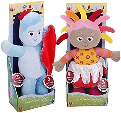 In The Night Garden 23cm Talking Iggle Piggle & Upsy Daisy Soft Plush Toys by Golden Bear