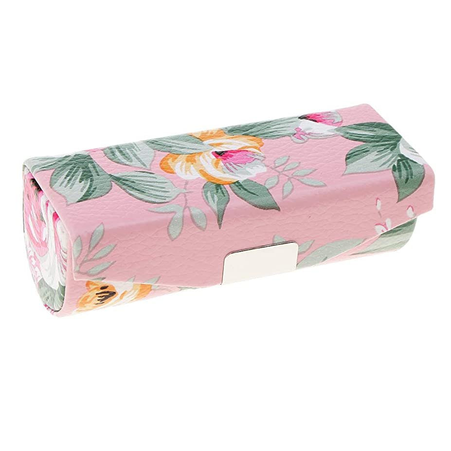 状態家族ガードT TOOYFUL ミラー付き口紅ケース、財布のための旅行サイズ、女性&女性のためのキャリングバッグ - ピンク