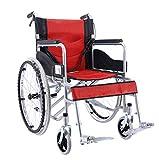 AOLI Silla de ruedas plegable, ligero móviles usadas confortable silla de ruedas portátil, plegable pedal, con freno trasero, carros de mano para los niños mayores,rojo
