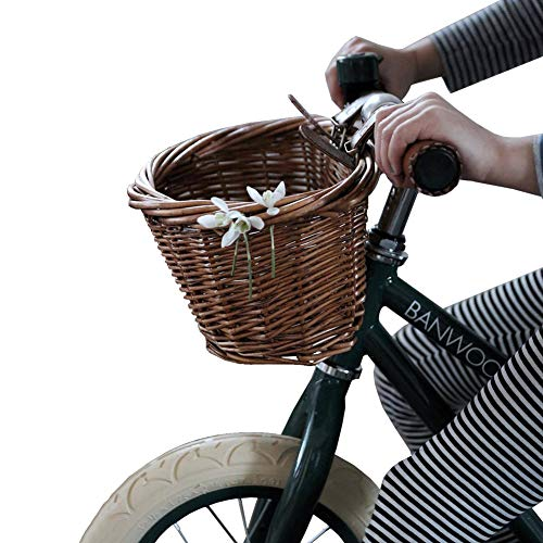 Wgwioo Canasta De Bicicleta para Niños, Canasta De Manillar De Ratán Vintage Hecha A Mano con Correas De Cuero Marrón Claro para Niñas Y Niños Almacenamiento De Juguetes Y Salidas
