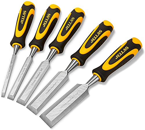 scalpelli per legno Set di 5, robusto set di scalpelli per la lavorazione del legno 1 4 , 1 2 , 3 4 , 1 ,1-1 4 , impugnatura ergonomica e copertura in acciaio, bordo smussato a 15°