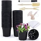 Ohuhu Vasi da vivaio in plastica da 4 pollici extra-spessi, 80 vasi con fori di drenaggio ed etichette per piante, piccoli vasi da fiori per piantine, succulente, talee, trapianti