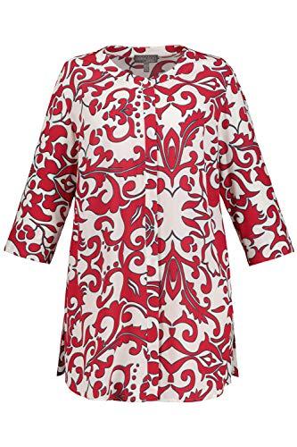 Ulla Popken Damen große Größen Bluse, Grafik-Design, 3/4-Ärmel, Selection rot 50/52 747646 52-50+