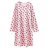 AOSKERA Erdbeer Pyjama für Mädchen Baumwolle Nachthemd weiche Nachtwäsche 6-7 Jahre