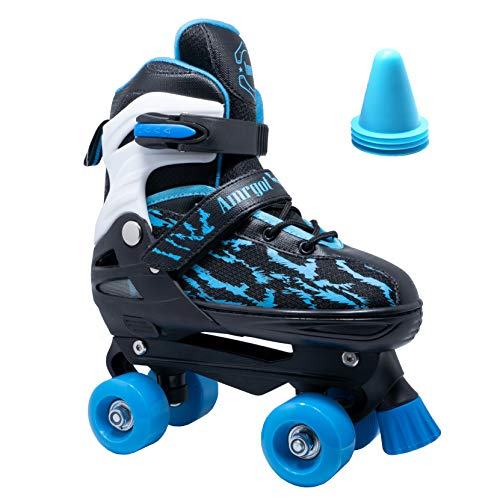 WiiSHAM Fun Roll Adjustable Roller Skates with Four Piles (Blue Black, Small)