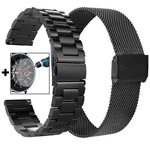 VIGOSS für Galaxy Watch 46mm Armband Gear S3 Frontier Armband 22mm Schwarz voll magnetischer Schnallenverschluss Schlaufe Edelstahl Uhrenarmband (Schwarz Metall + Mesh)