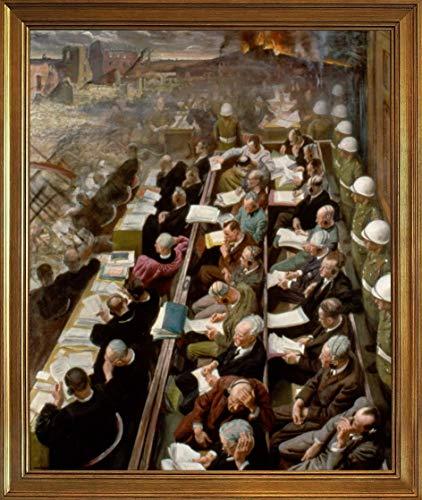 Laura Knight 古典フレーム ジクレー キャンバスに印刷 -有名な絵画 美術品 ポスター-再生 壁の装飾 ハングする準備ができて(ニュルンベルク裁判) #JK