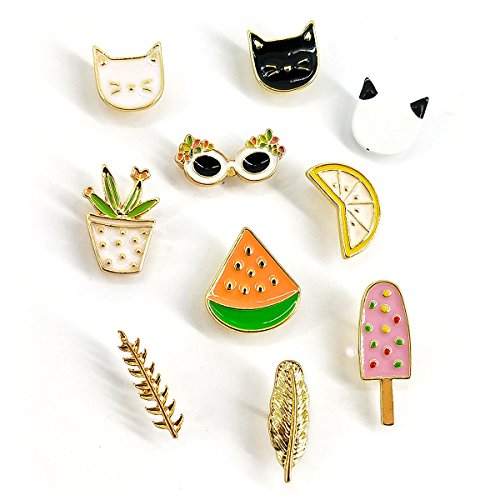 MeliMe Cute Cat Animal Floral Fruits Enamel Brooch Pins Cartoon Lapel Pins Lovely Badge for Women Kids Clothing Decoration (Cute Cats Fruits Leaves Set of 10)