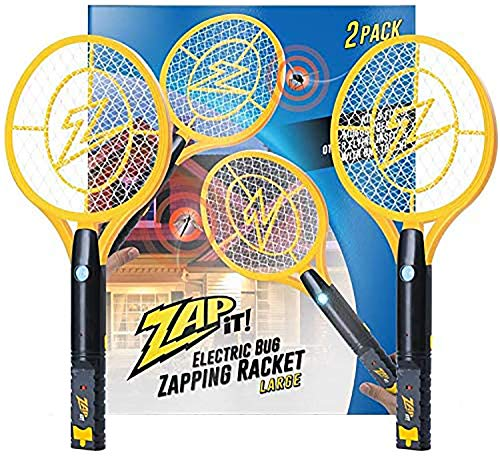 Zap It Bug Zapper Rechargeable Bug Zapper Racket with Blue Light Attractant, 4,000 Volt, USB Charging Cable, 2 Pack